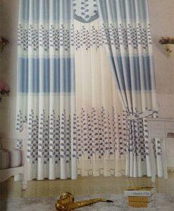 Rèm vải phòng ngủ màu xanh