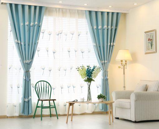 Rèm vải màu xanh hoa văn đẹp