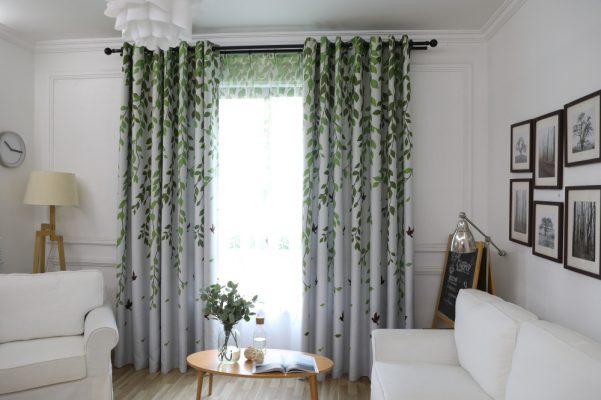Rèm vải họa tiết hoa văn dây
