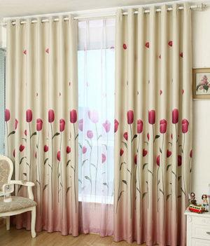 Rèm vải hoa tulip