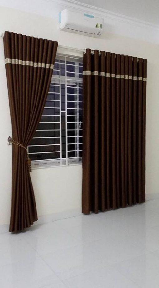 Rèm cửa vải màu nâu