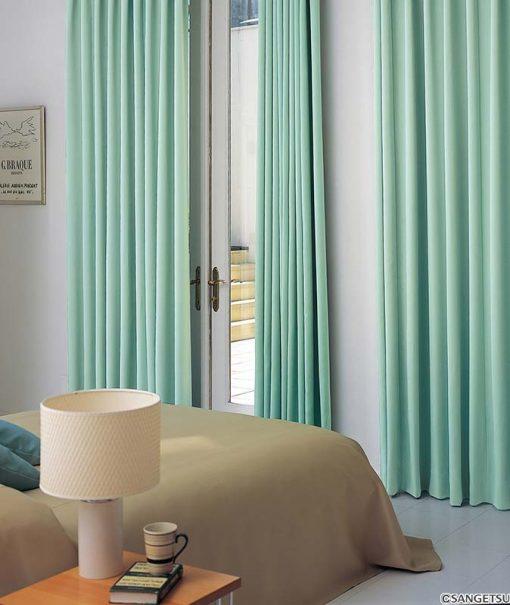 Rèm cửa vải màu xanh lá cây