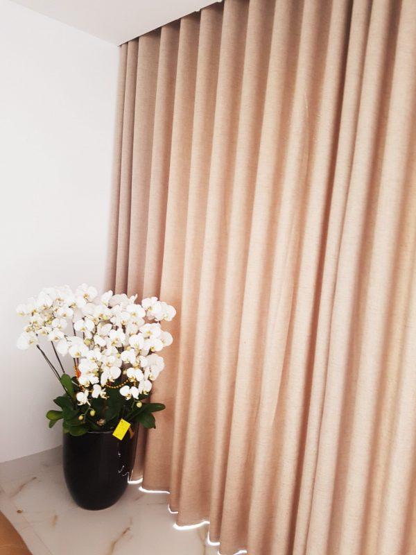 Rèm vải một màu chất liệu vải thô