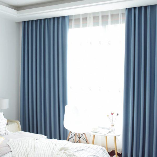 Rèm vải một màu - màu xanh